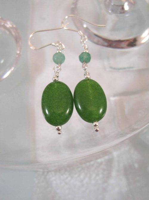 Jade örhängen - Oval/Rund/Grön