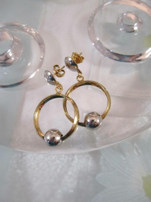 Guld, Vermeil örhängen - Cirkel/Pärla/Studs