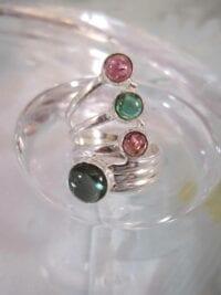 Turmalin ring grön och rosa