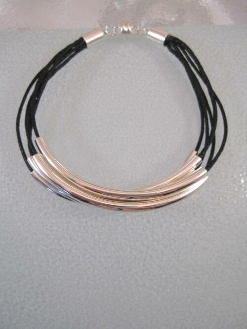 5 radigt Armband med Vaxtråd - Silver