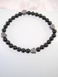 Onyx o Hematit armband med Buddha - Svart/Grå/Flex