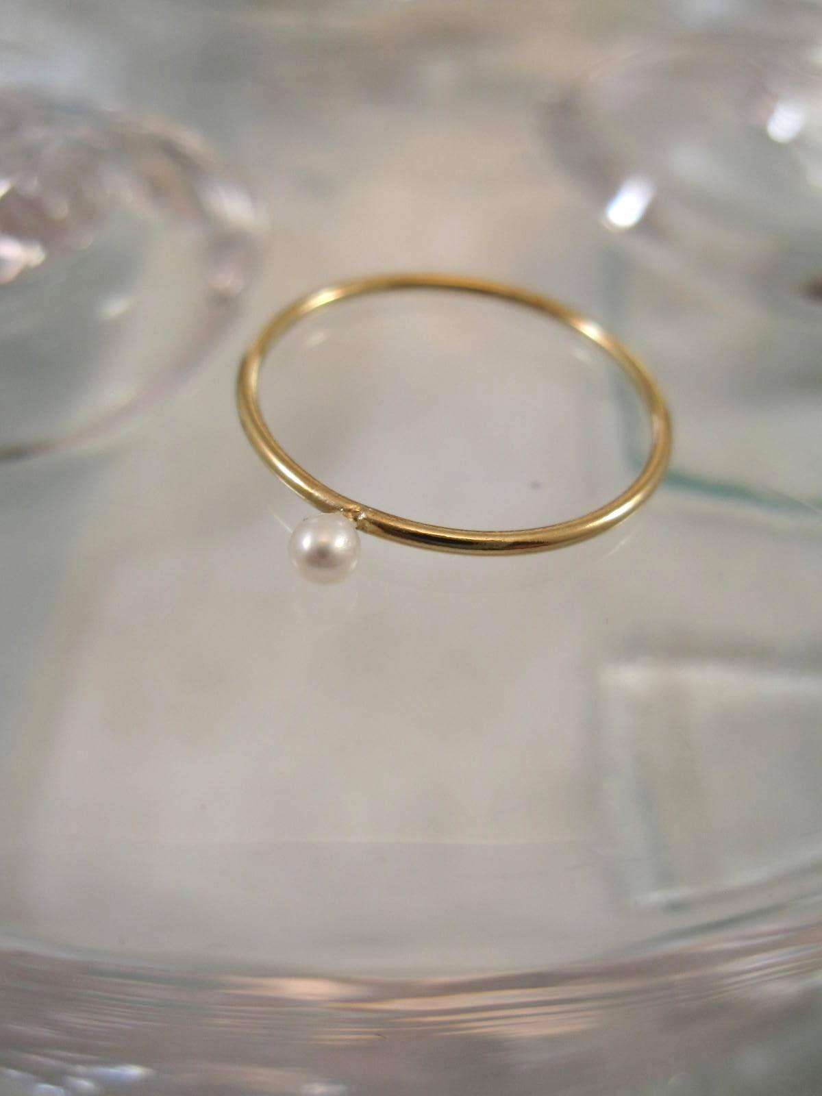 Guldring med Sötvattenspärla - Stapelbar
