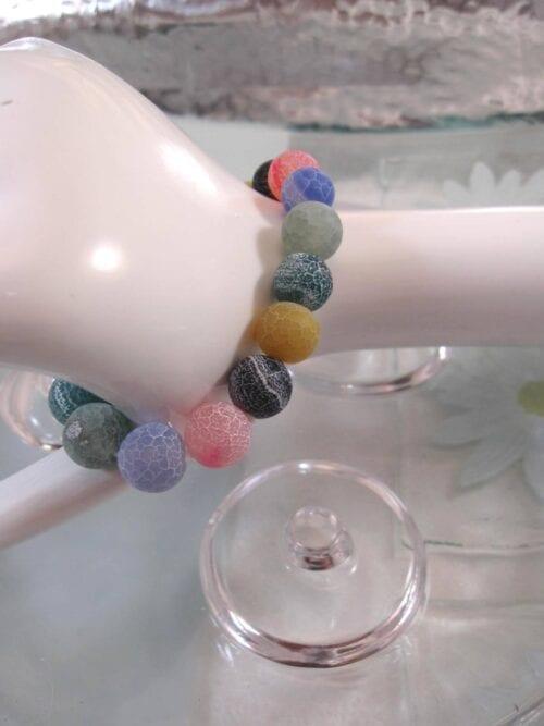 Agat armband – Multifärg/Ådrad/Flex
