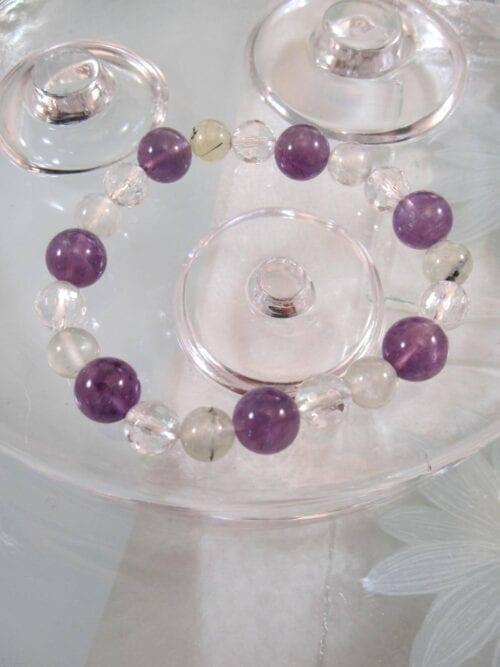 Ametist, Bergskristall, Granat armband – Multisten/Flex
