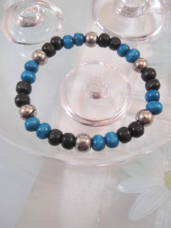 Trä o Glas pärlor armband – Turkos/Silver/Flex/Unisex