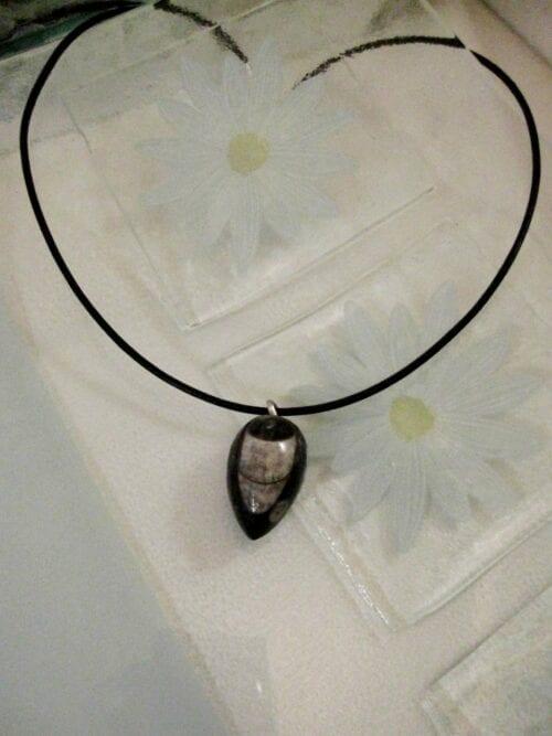Orthoceras Fossil hänge på läderrem halsband