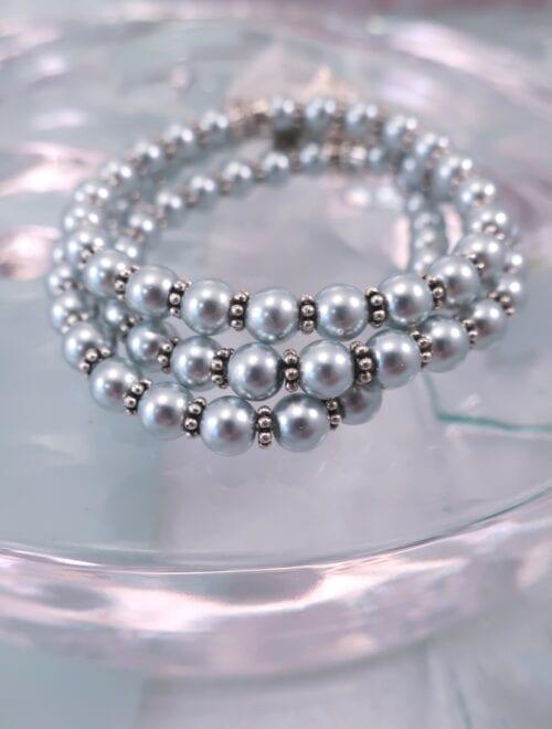Glas armband - Flex/Silver