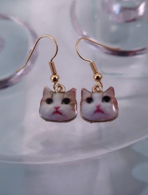 Örhängen med katter – Djur/Emaljerad/Röd/GP