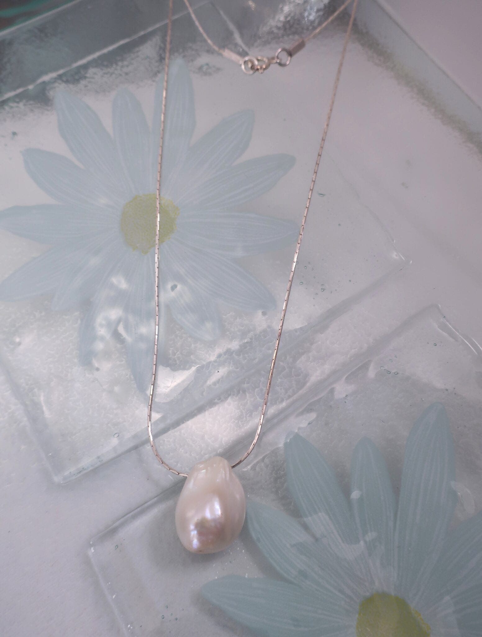 Barock Sötvattenspärla på kedja halsband - Droppe