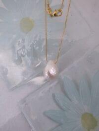 Barock Sötvattenspärla på kedja halsband - GP/Droppe