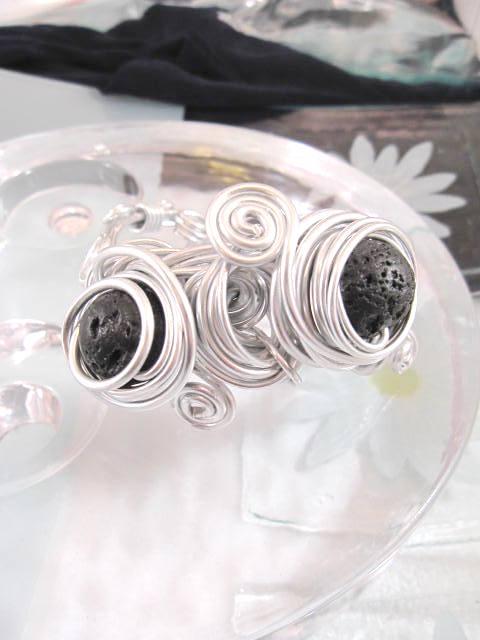 Aluminium o Lava armband - Rund 2/Inlindad/Svart/Justerbart/XL