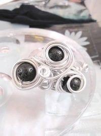 Aluminium o Lava armband - Rund/Inlindad 3/Svart/Justerbart/XL