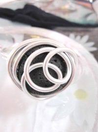 Aluminium o Lava armband 1 - Rund/Inlindad/Svart/Justerbart
