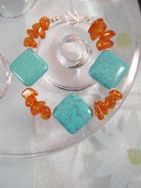 Bärnsten Harts o Turkoser armband - Chips/Orange