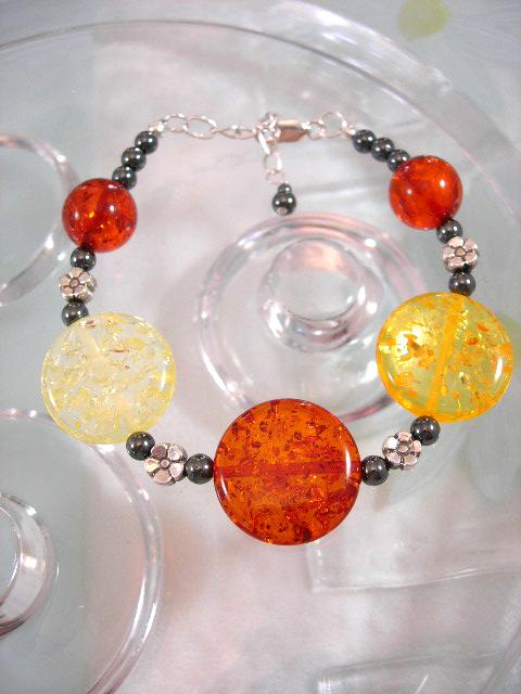 Bärnsten Harts o Hematit armband - Multifärg/Silverblommor
