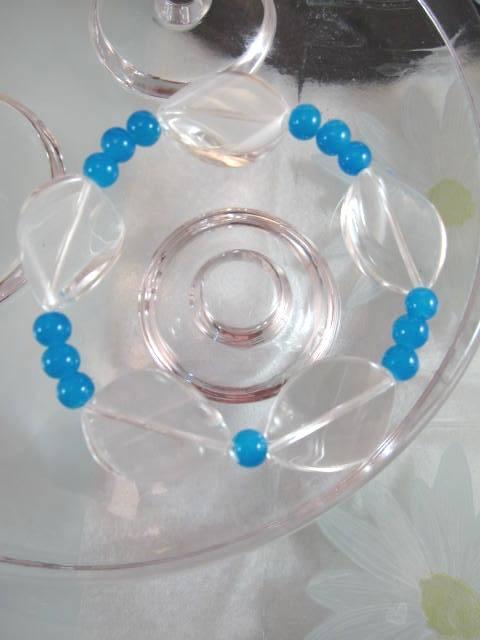 Armband med glaspärlor - Genomskinligt/Blå