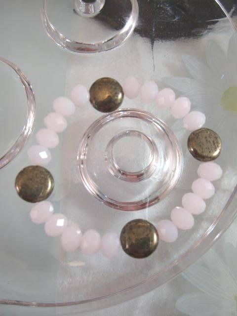 Armband med Pärlor o Pyriter - Rosa/Flex