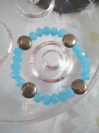 Armband med Pärlor o Pyriter - Turkos/Flex