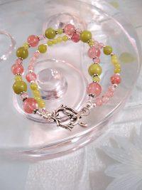 Jade o Körsbärskvarts armband - Oliv/Tvåradigt
