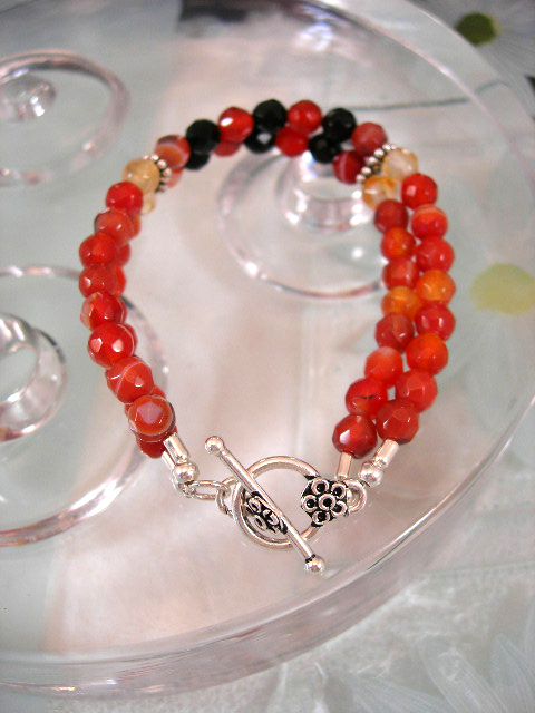 Karneol o Onyx armband - Fasett/Tvåradigt