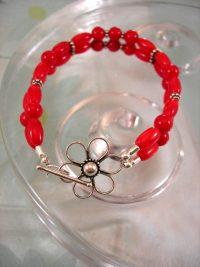 Korall armband - Pärlor/Daisy Blomma/Tvåradigt