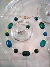 Krysokolla armband - Oval/Pärlor/Stavar