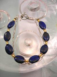 Lapis Lazuli o Sötvattenspärlor armband - Oval/kedja