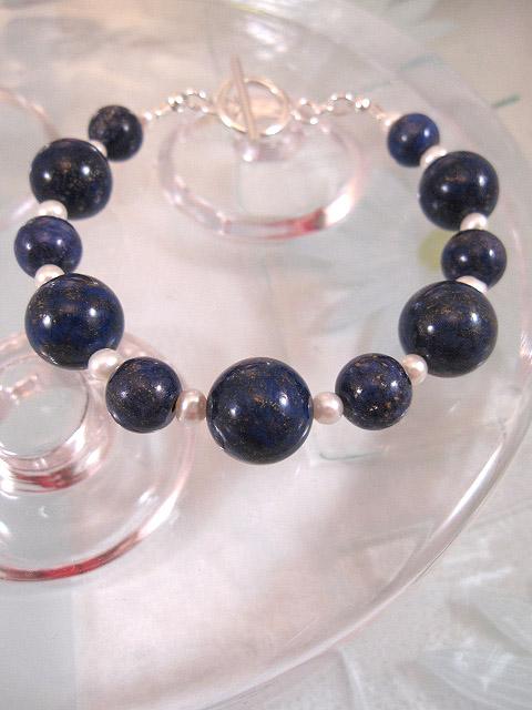 Lapis Lazuli o Sötvattenspärlor armband - Blå/Vit