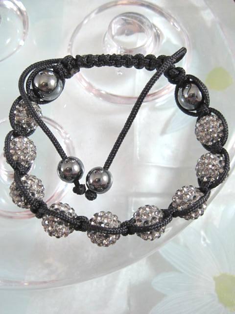 Armband med grå Kristaller o Hematiter - Shamballa
