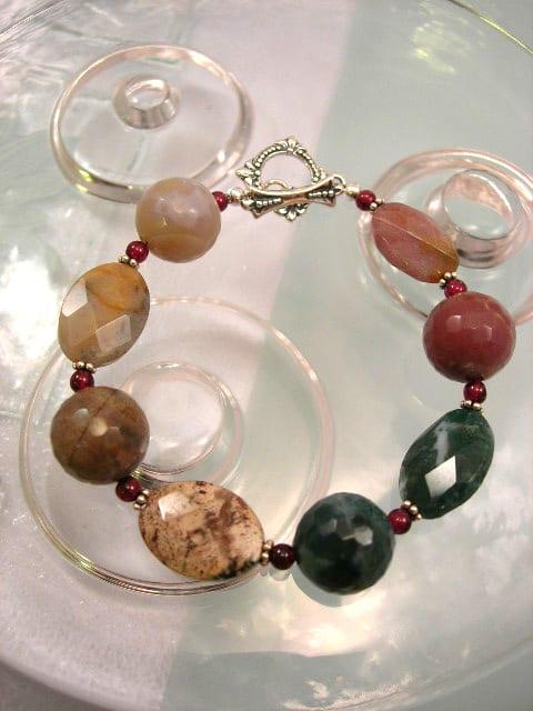 Mossagat & Granatpärlor armband - Oval/Fasett/Multifärg