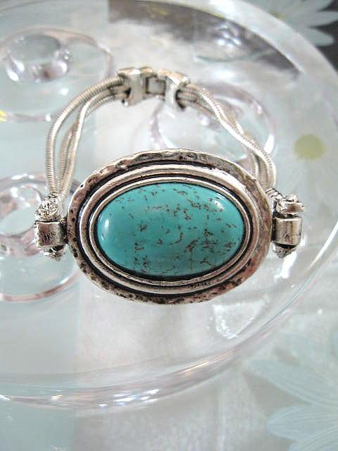 Tibetanskt silver armband med Turkoser - Oval/XL