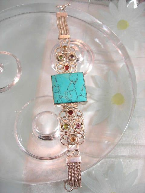 Turkos armband med Ametist, Citrin, Granat o Peridot - Fasett