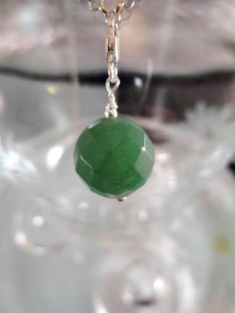 Berlock med karbinlås - Pärla/Aventurin/Fasett/Grön