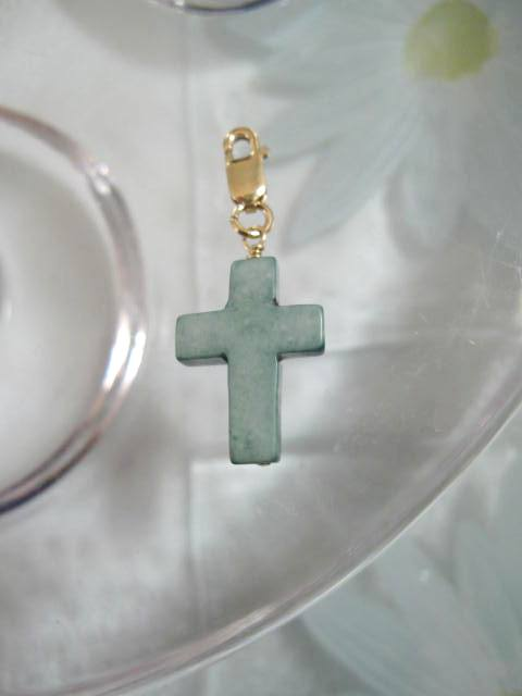 Guldberlock med karbinlås o Grönt kors - 14K GF