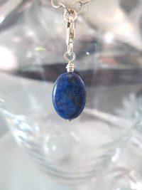Berlock med karbinlås - Oval/Lapis Lazuli