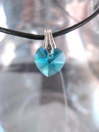 Berlock med hängögla - Hjärta/Swarovskikristall/Litet/Blå