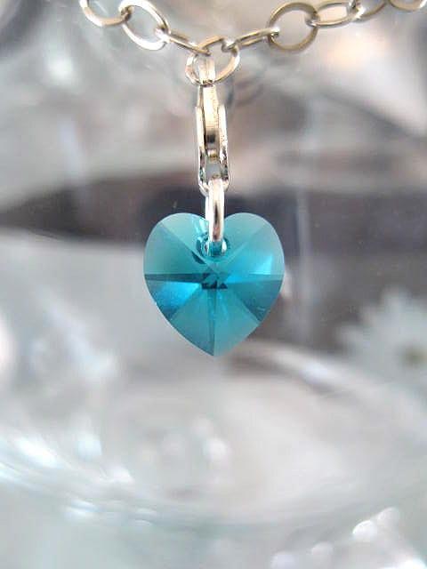 Berlock med karbinlås - Hjärta/Swarovskikristall/Litet/Blå