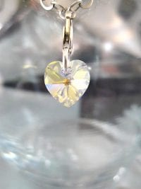 Berlock med karbinlås - Hjärta/Swarovskikristall/Litet/Vit AB