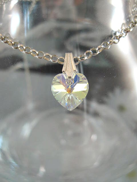Berlock med hängögla - Hjärta/SwarovskiKristall/Litet/Vit AB