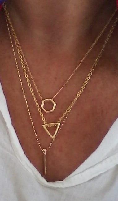 Bonus erbjudande 300 - Guldhalsband med symboler - Treradigt
