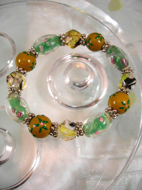 Bonus erbjudande 500 - Glas, Lampwork armband - Grönt/Flex