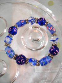 Bonus erbjudande 500 - Glas, Lampwork armband - Koboltblå/Flex
