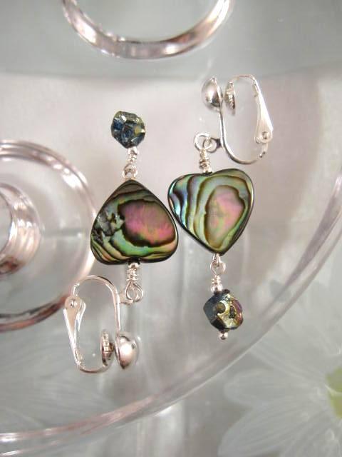 Clips örhängen med Abalone, Paua snäcka o Drusy - Hjärta/Nugget