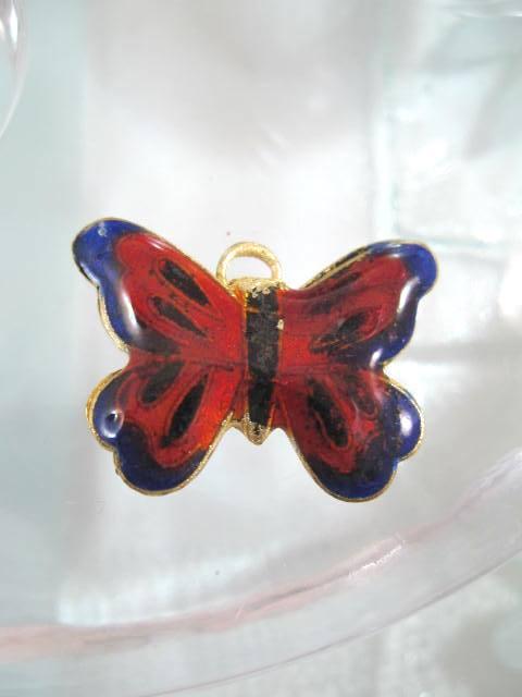 Bonus erbjudande 300 - Cloisonne hängsmycke - Fjäril/Röd
