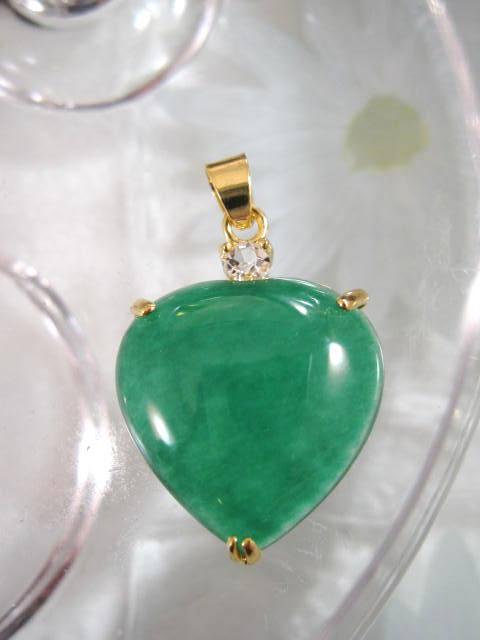 Guldhängsmycke - GP/CZ/Hjärta/Grön/Jade