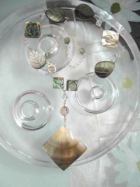 Abalone, Paua snäcka, Pärlemor o Kristaller halsband - Kant/löv