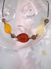 Bärnsten Harts o ådrad Agat på läderrem halsband - Multifärg