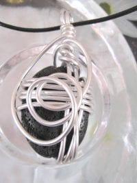 Aluminium o Lava halsband 1 - Oval/Inlindad/Svart