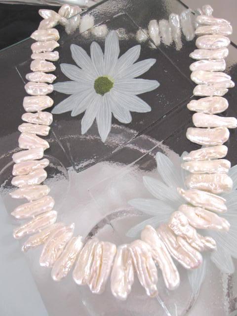 Biwapärlor halsband - Sötvattenspärlor/Vit