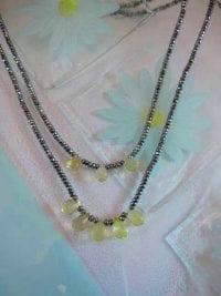 Citron kvarts o Hematit halsband - Fasett/Tvåradigt